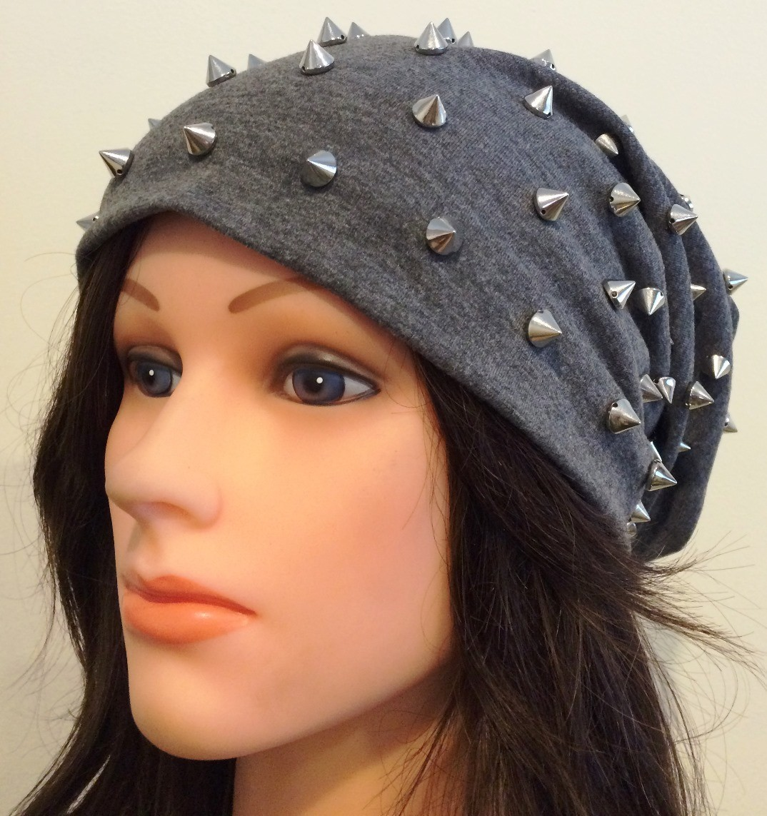 Gray cone shaped spiked slouch hat