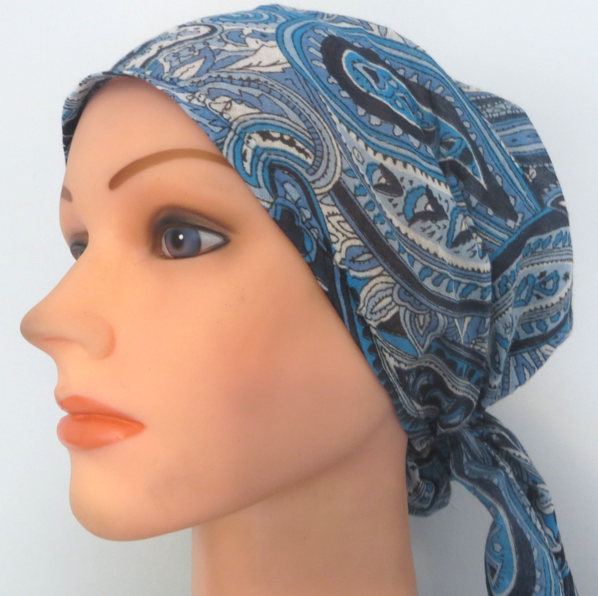 Blue paisley pretied tichel headcovering