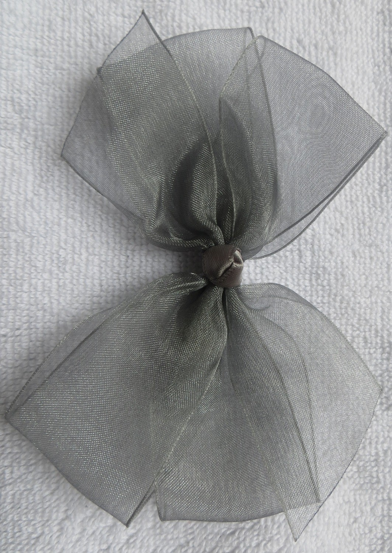 Gray small organza bow