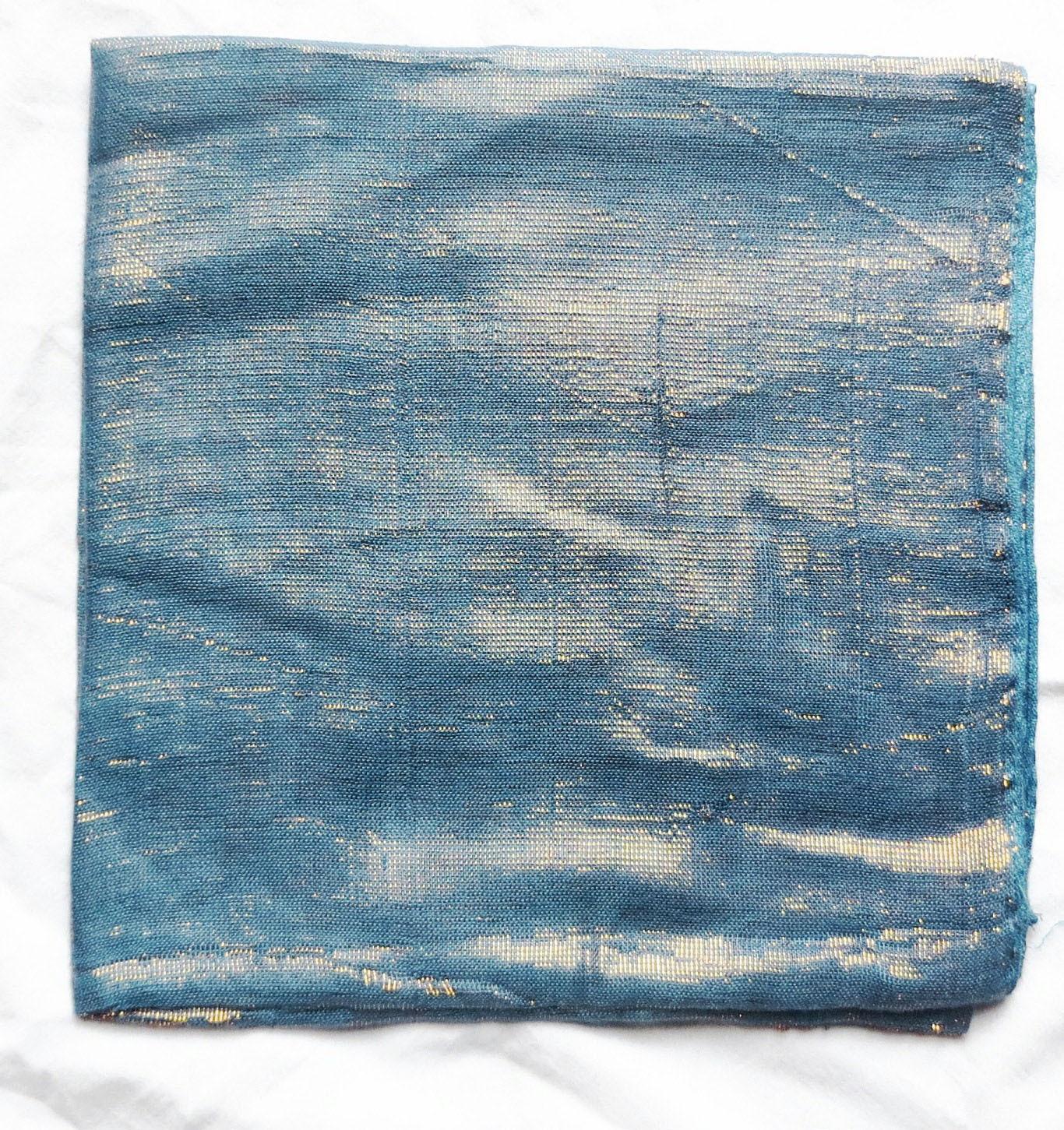Blue solid color shimmering tichel