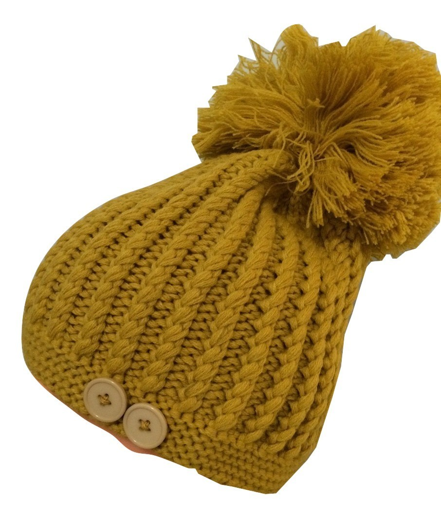 Mustard beret with extra large pom pom