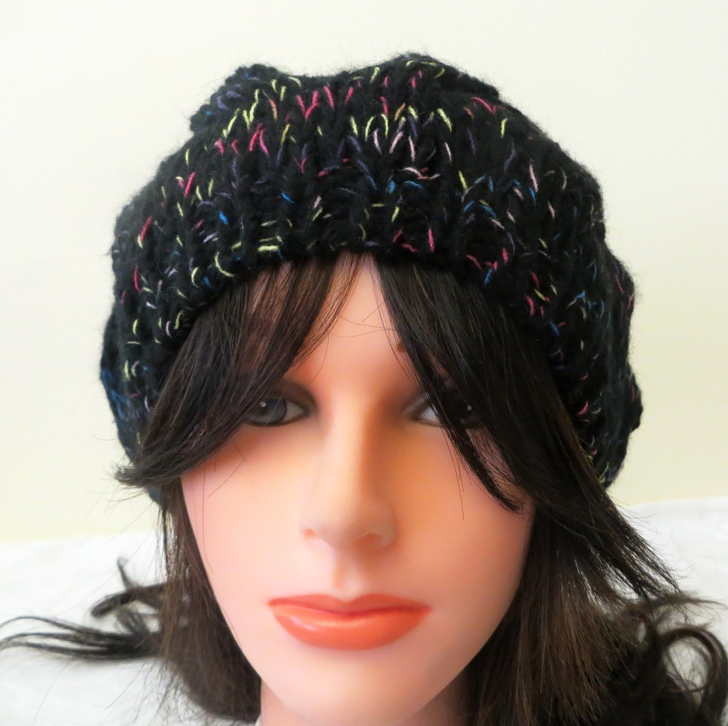 Black beanie with colorful threads