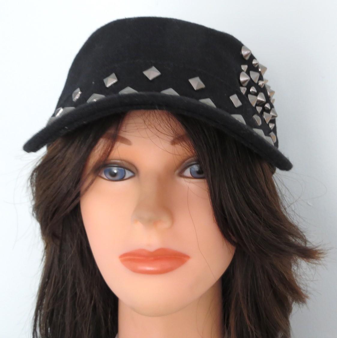 Black spiked cap