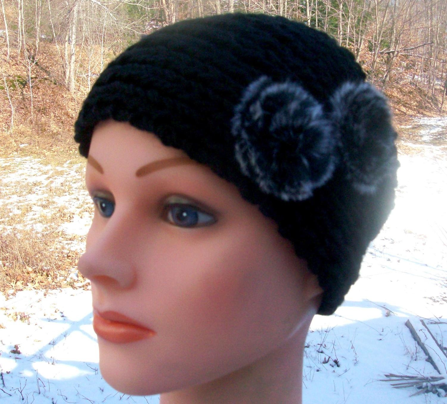 Black pom pom head wrap