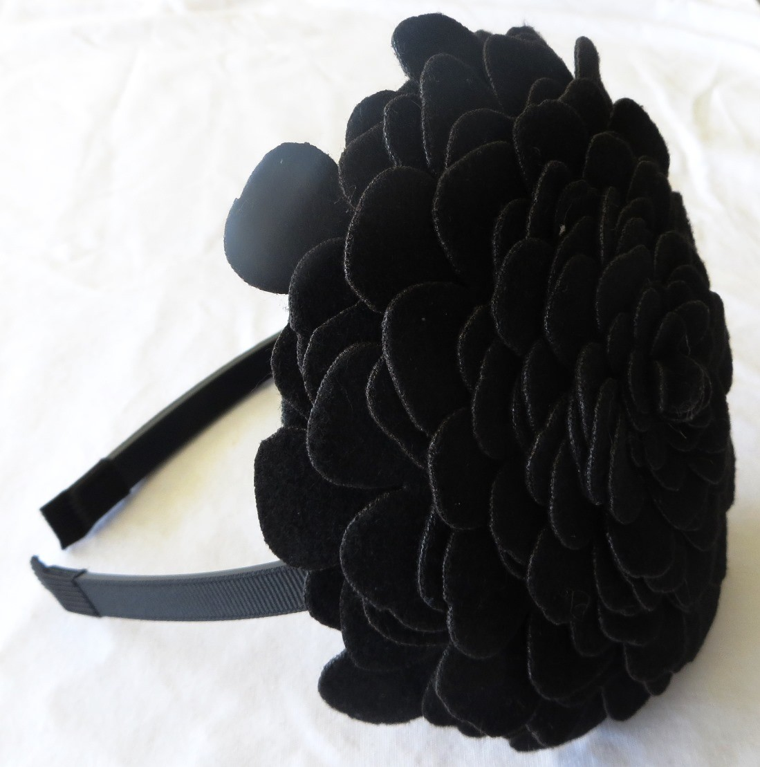Black  large felt flower headband