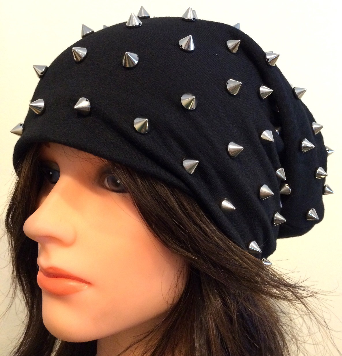 Black cone shaped spiked slouch hat