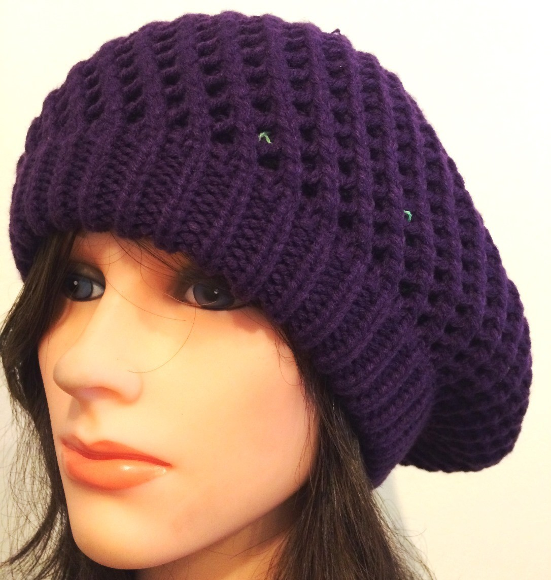Purple chunky beret