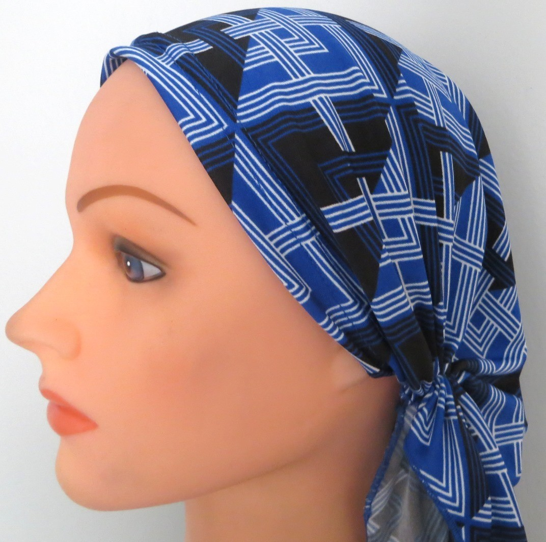 Blue black and white stretchy pre-tied tichel headcovering