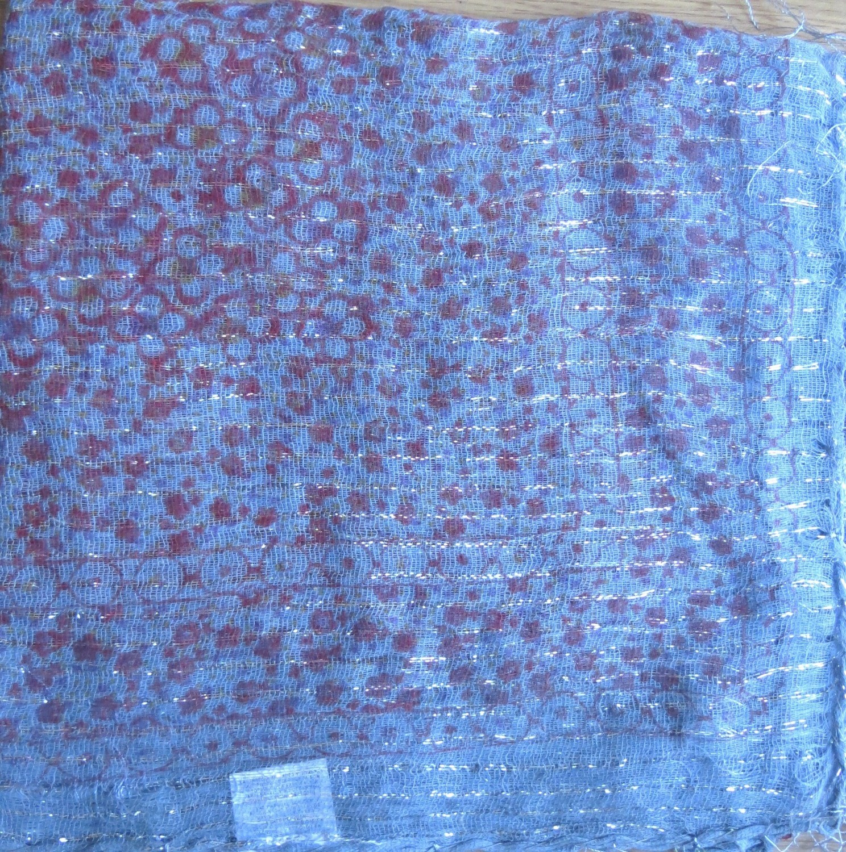 Pretty pattern lurex tichel dull blue