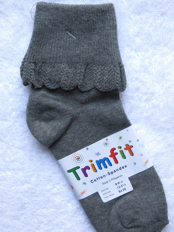 Gray short sock ruffled cuff