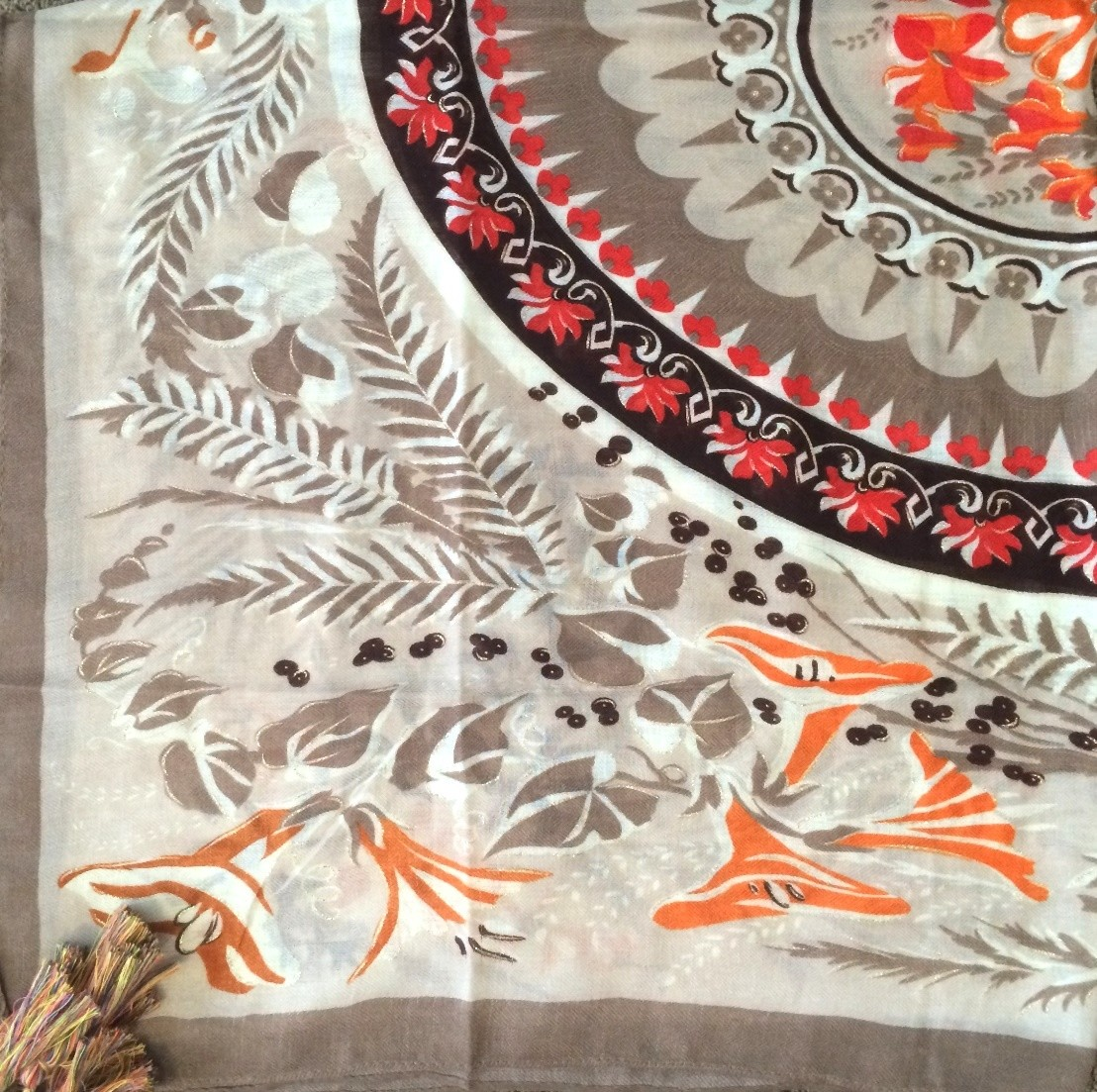 Peaches n cream soft tichel with floral pattern