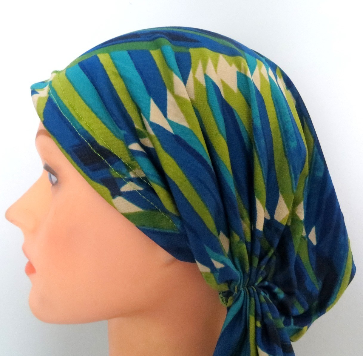 Blue and green stretchy pre-tied tichel headcovering