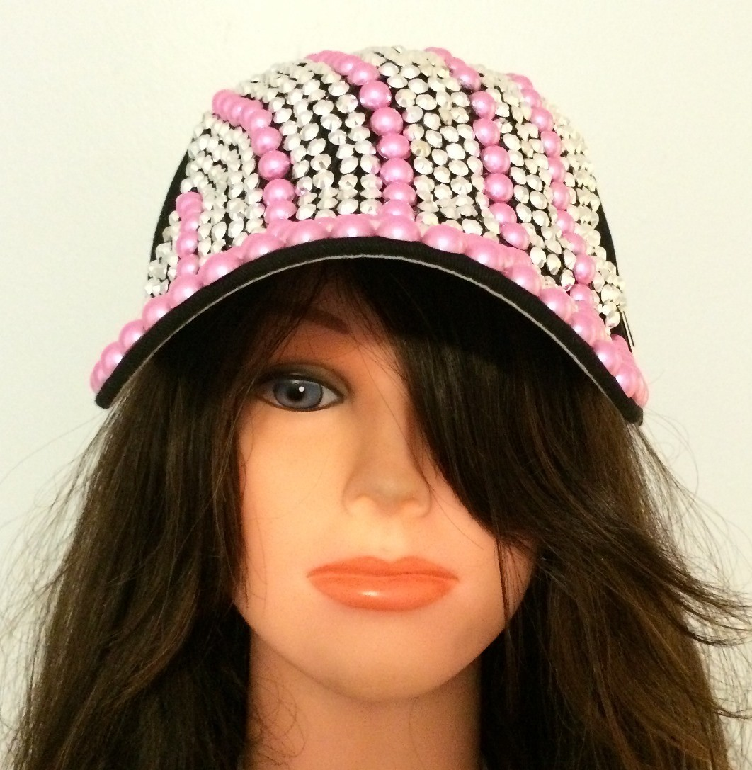 Black with colored sequins bejeweled cap
