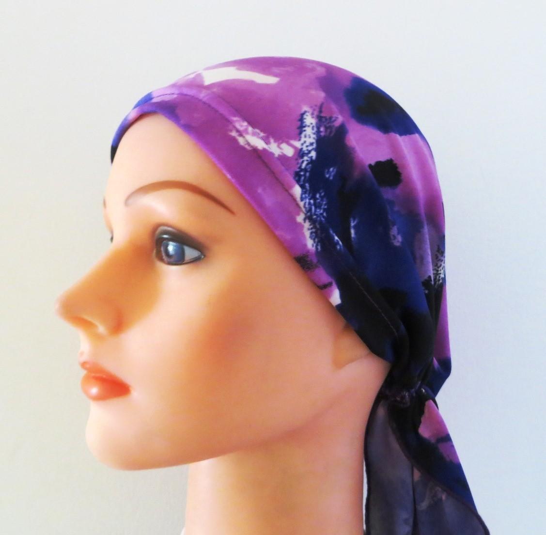 Light purple stretchy pre tied tichel