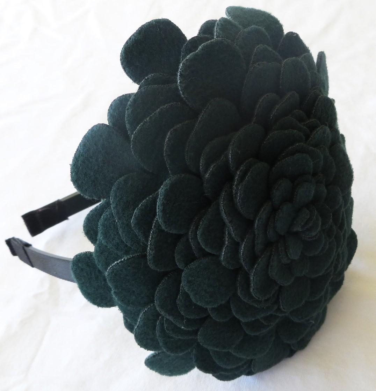 Hunter green large felt flower headband