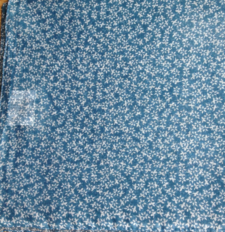 Mini flowers cotton tichel dusty blue