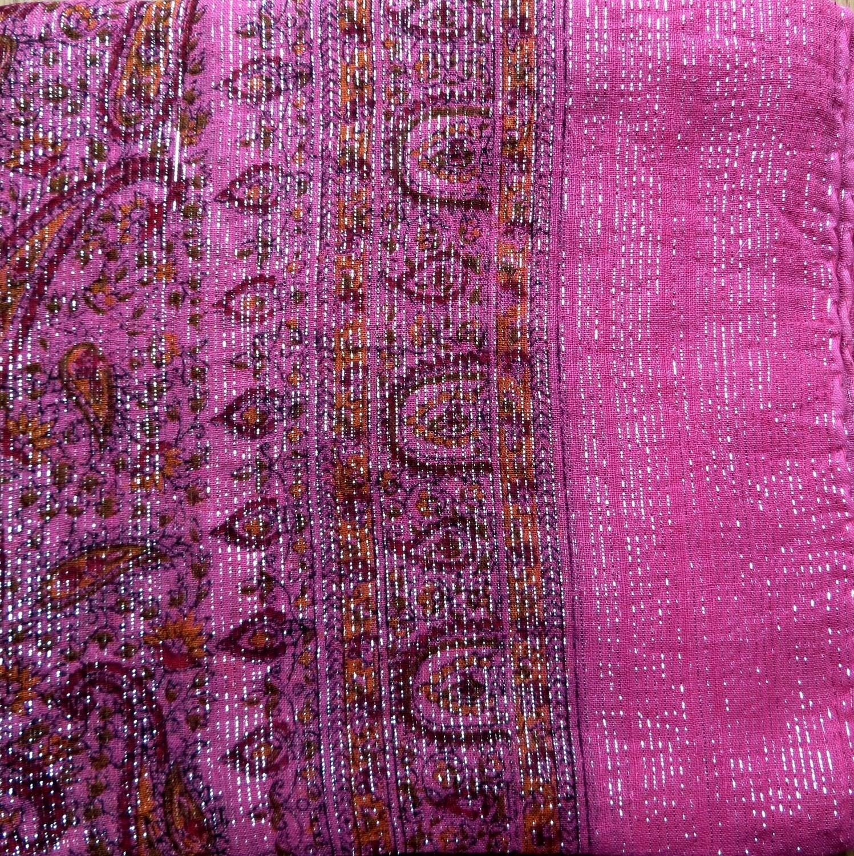 Pink thin line fancy cotton tichel