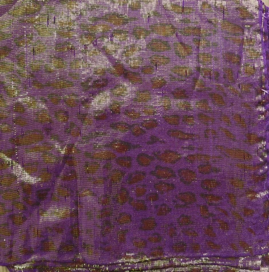 Dark purple animal print shimmer tichel