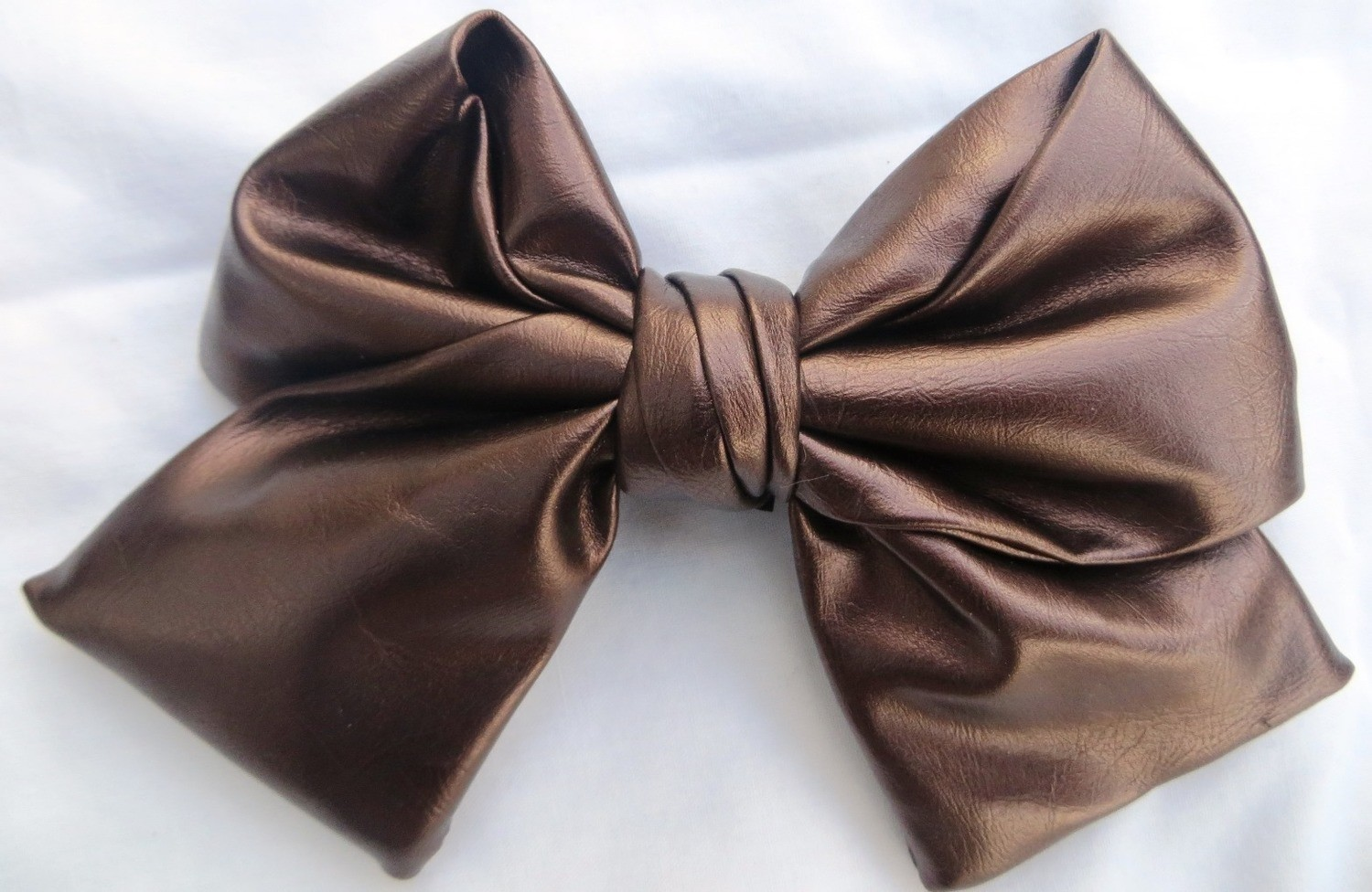 Bronze faux leather metallic look bow