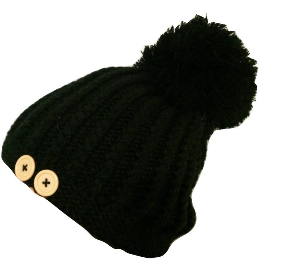 Black beret with extra large pom pom