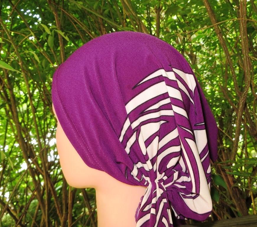 Purple stretchy pre tied tichel