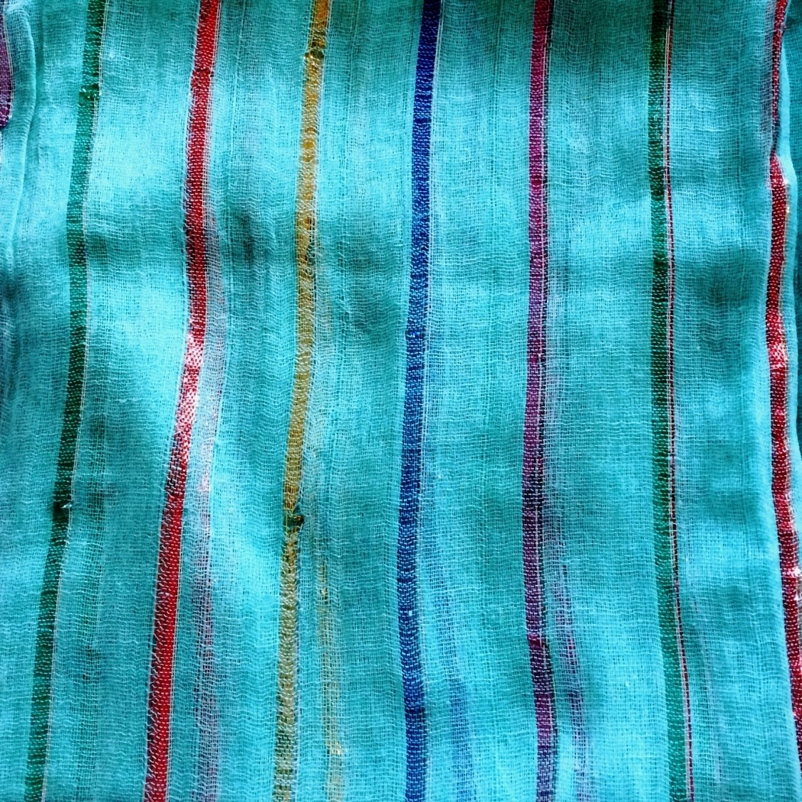 Turquoise lurex tichel with thick stripes