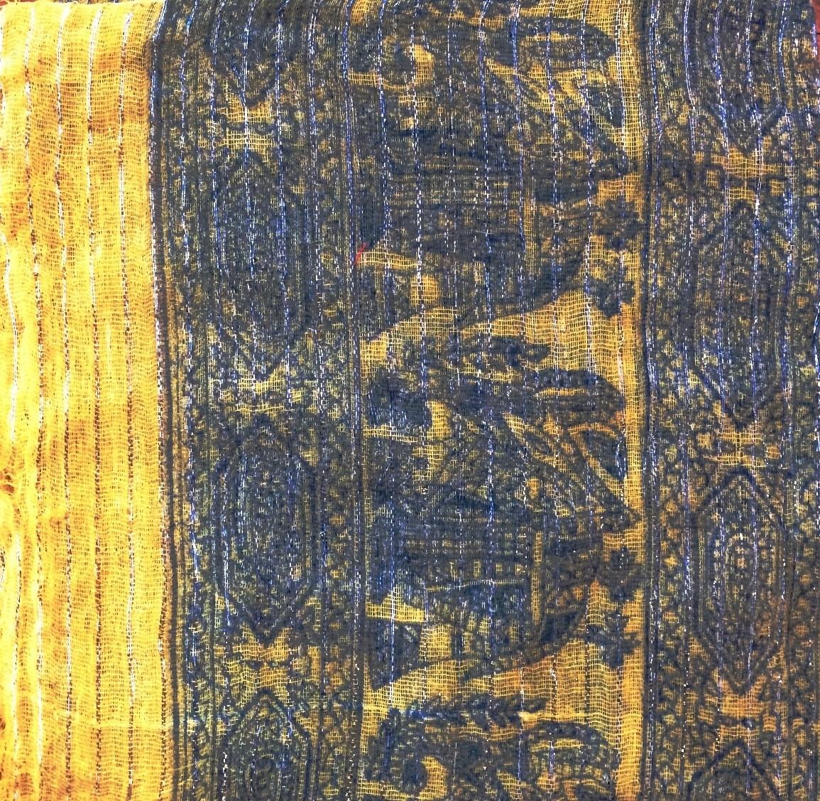 Yellow patterned lurex tichel