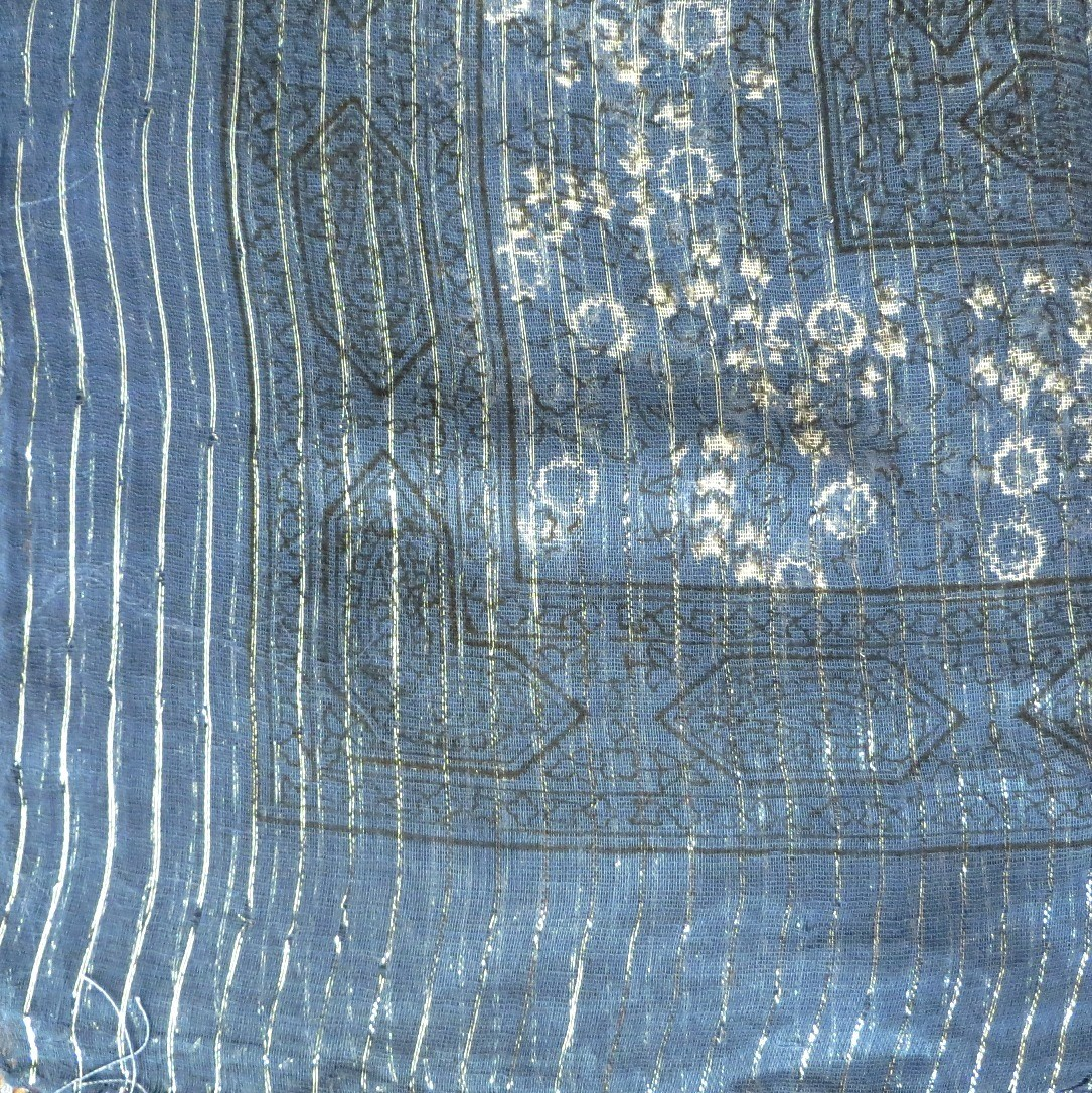 Denim blue lurex tichel with white berry flowers