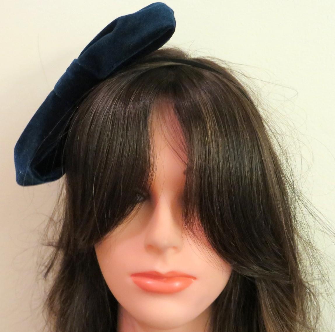 Blue velvet bow headband
