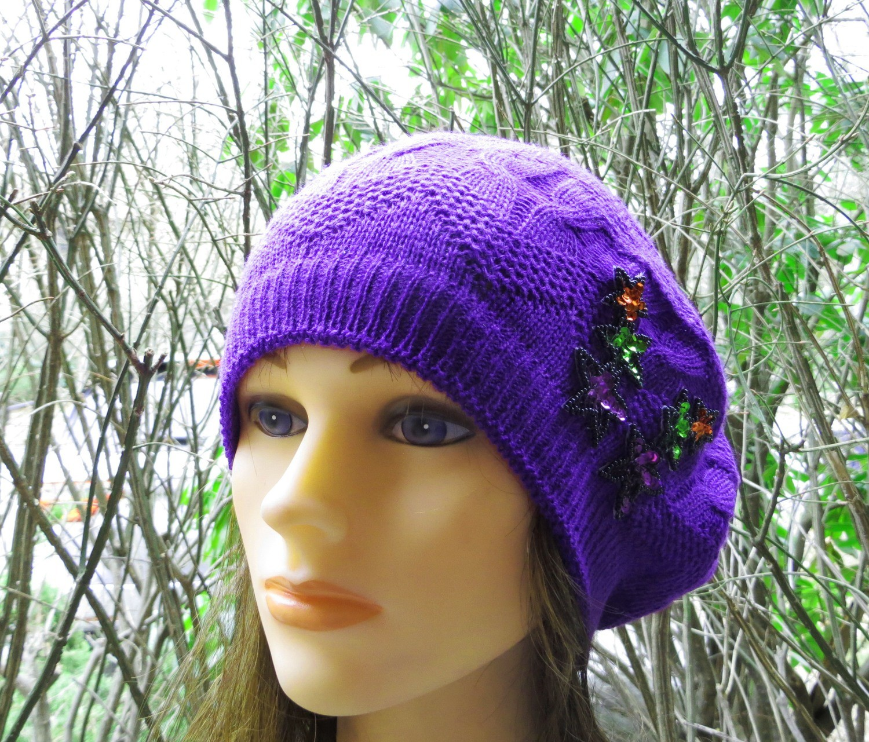 Purple summer style beret