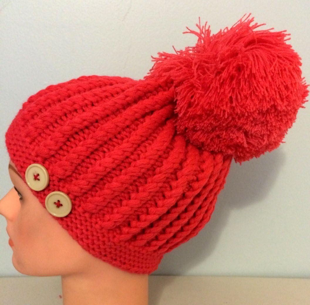 Watermelon pink beret with extra large pom pom