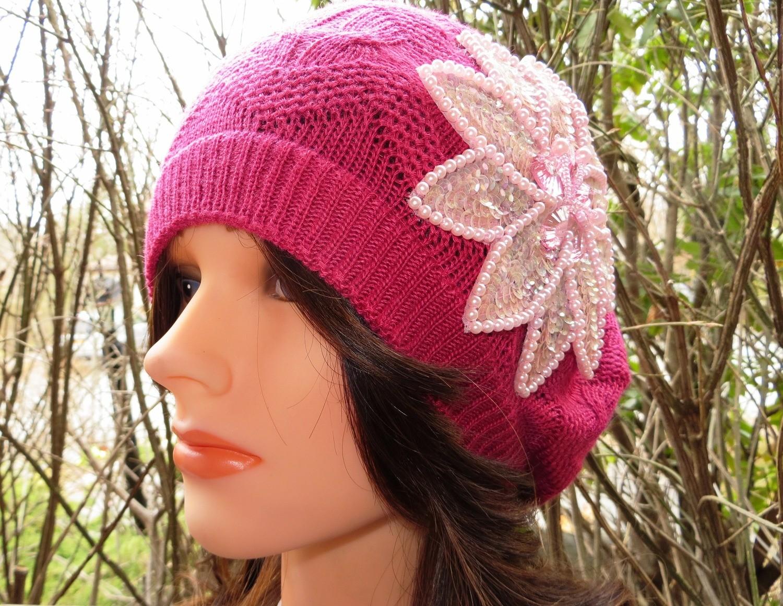 Deep pink summer style beret