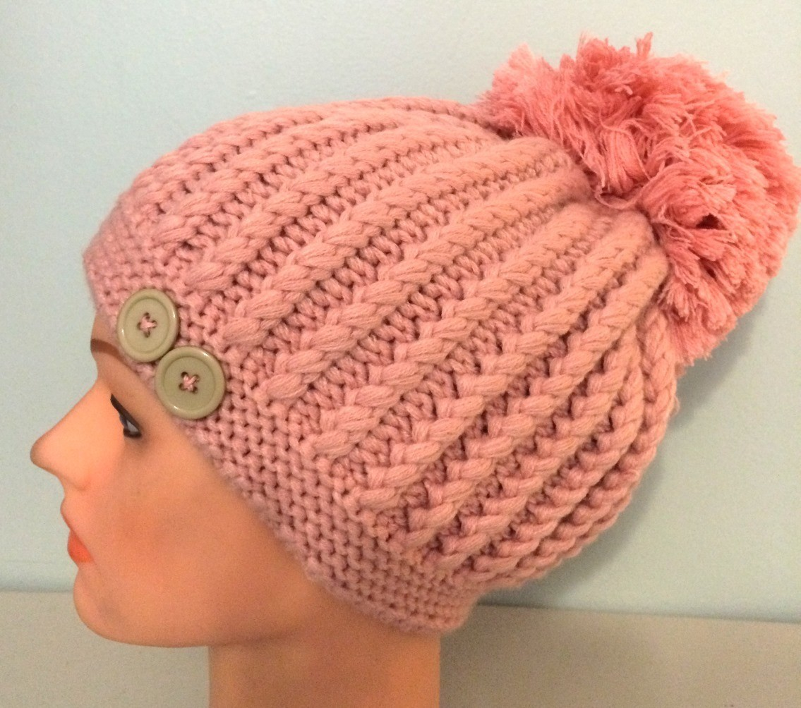 Dusty pink beret with extra large pom pom