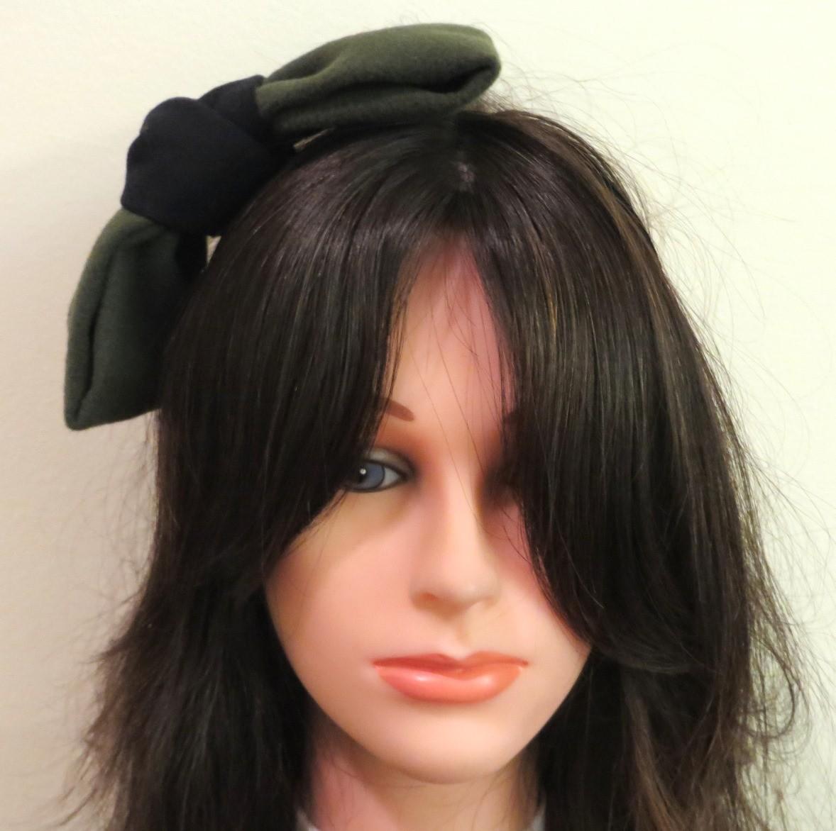 Green felt large bow headband