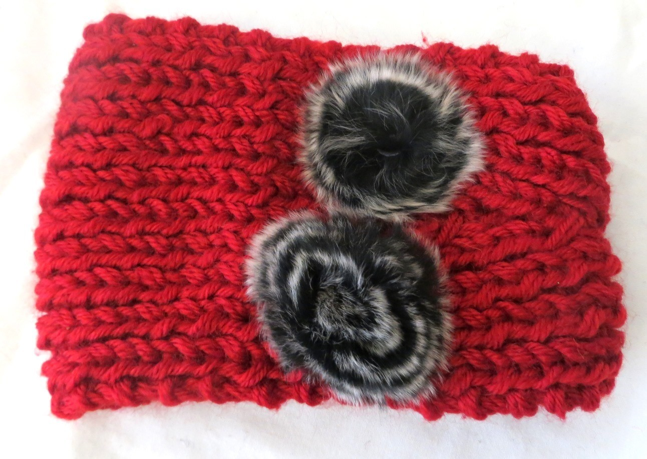 Red pom pom head wrap