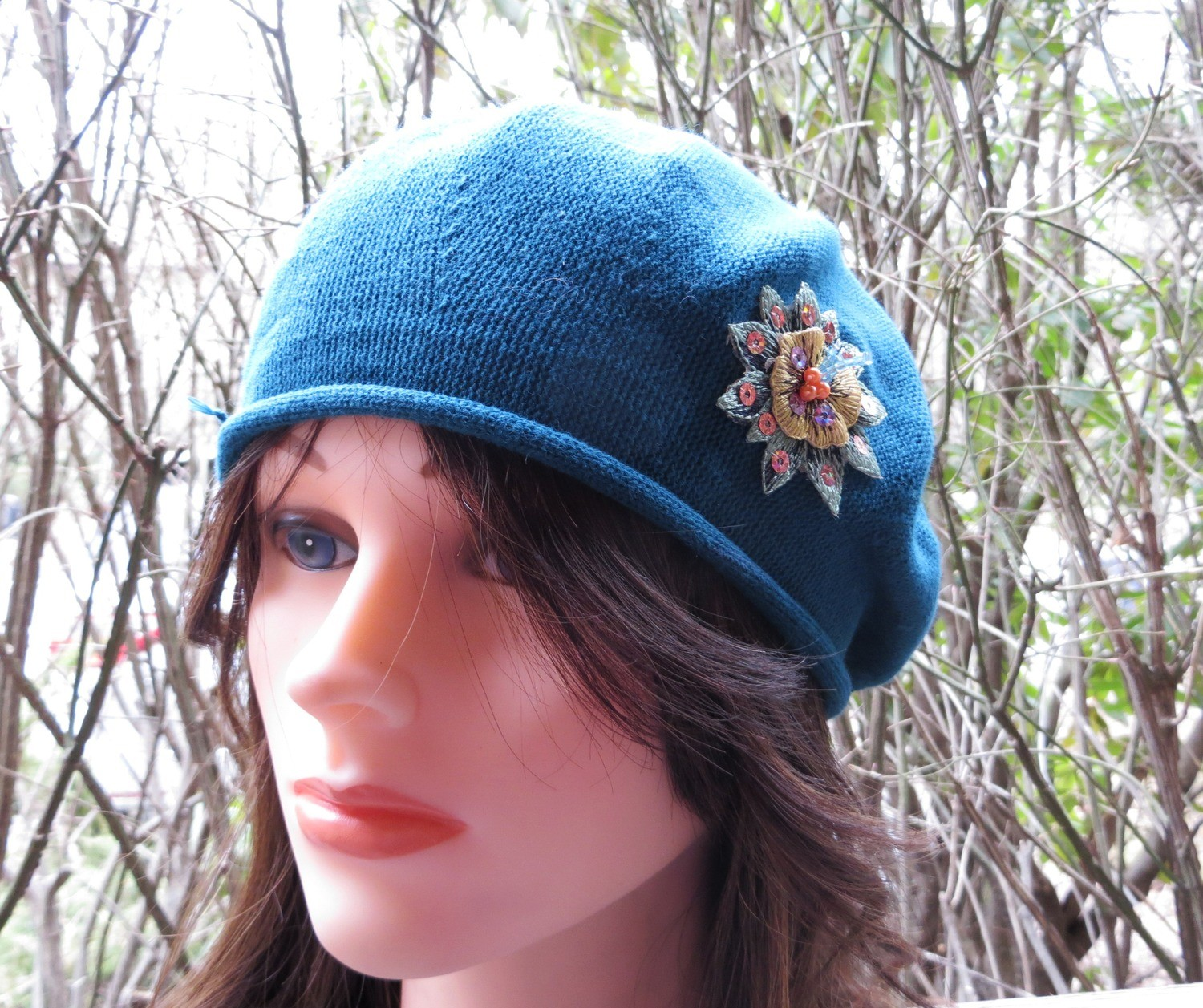 Torquoise cotton summer style beret