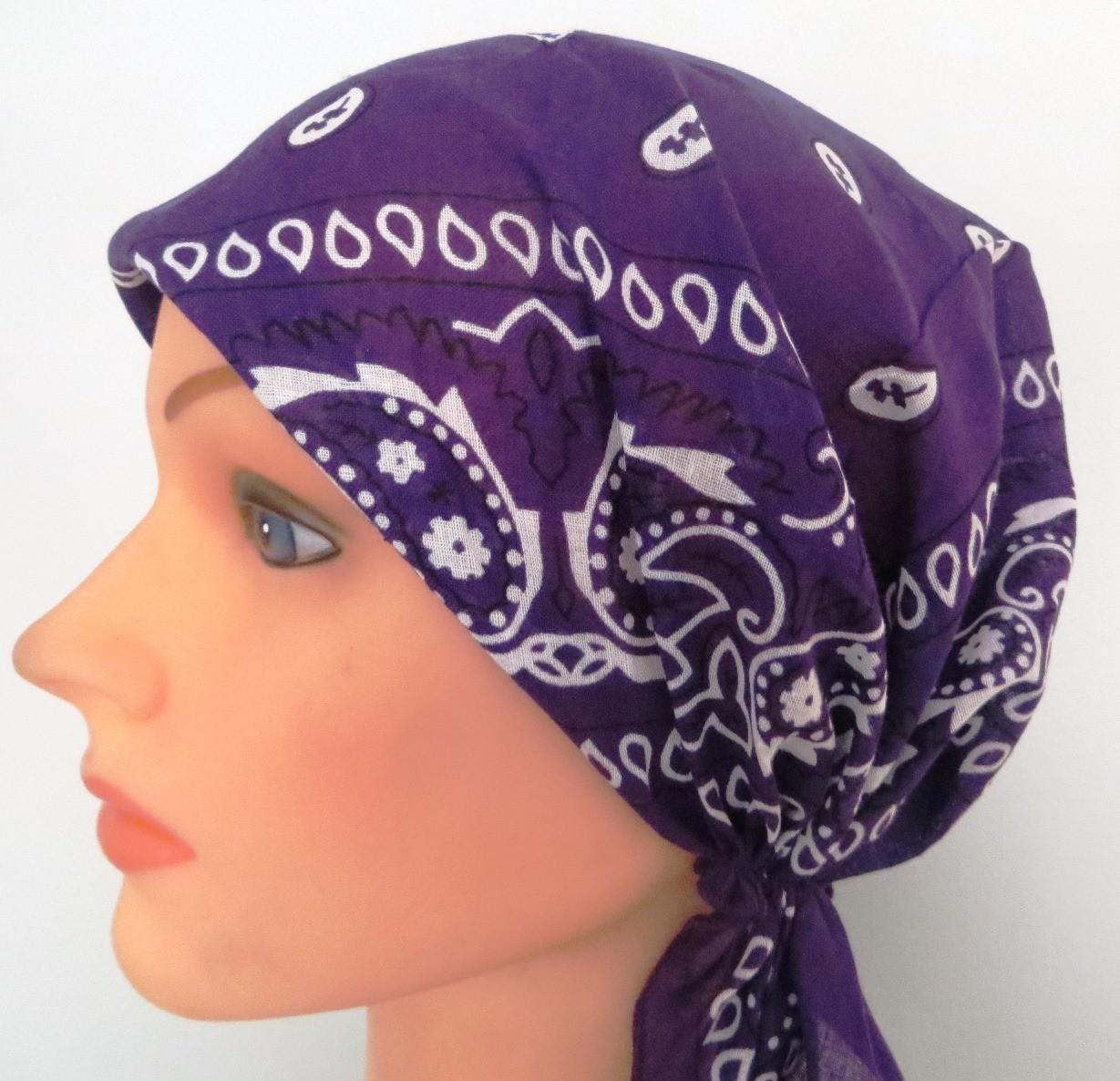 Purple pre-tied bandana