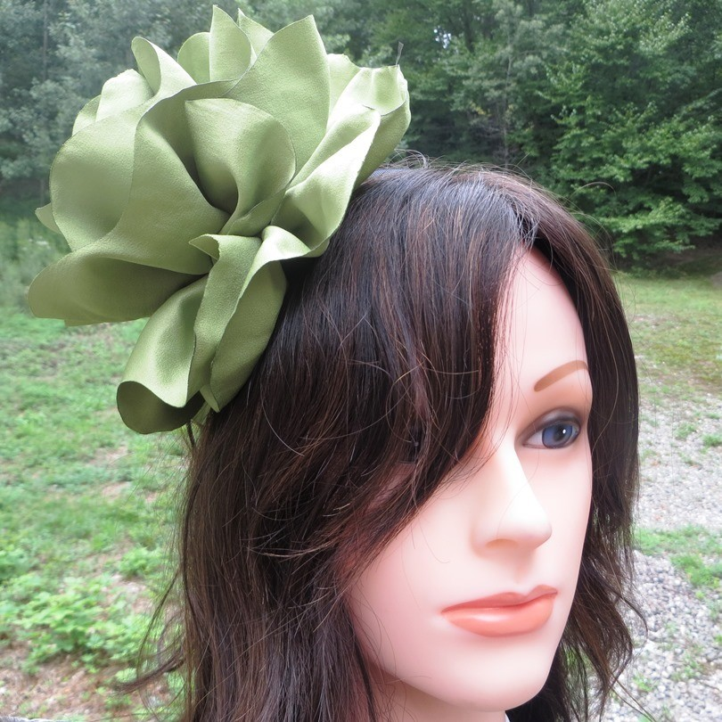 Avocado green extra large flower headband