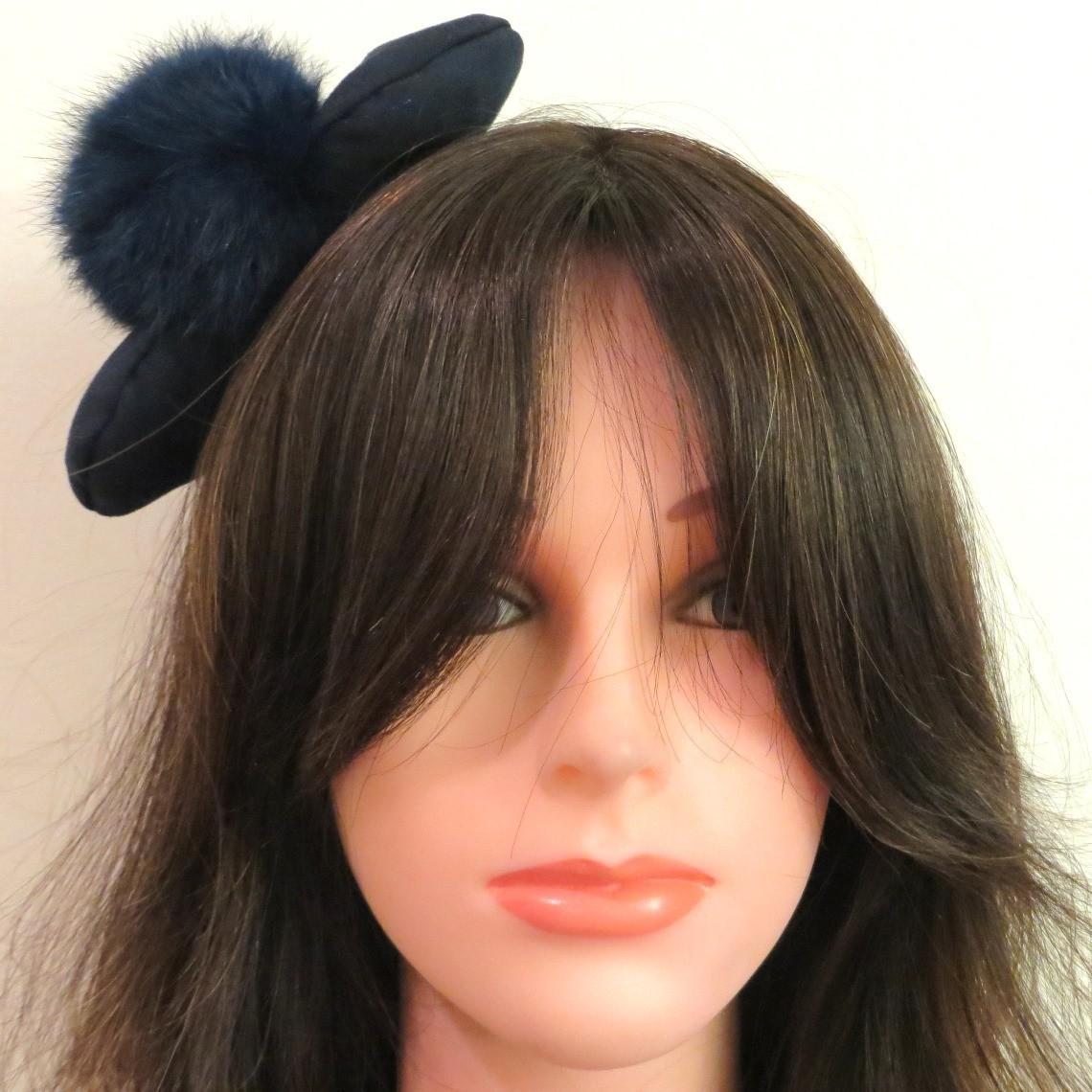 Blue bow and fur ball headband