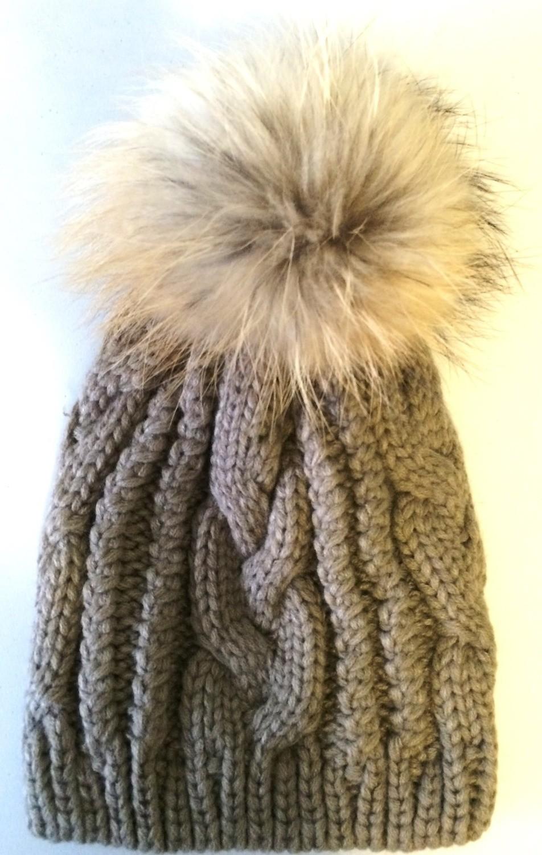 Sandy brown cable knit fur pom pom hat