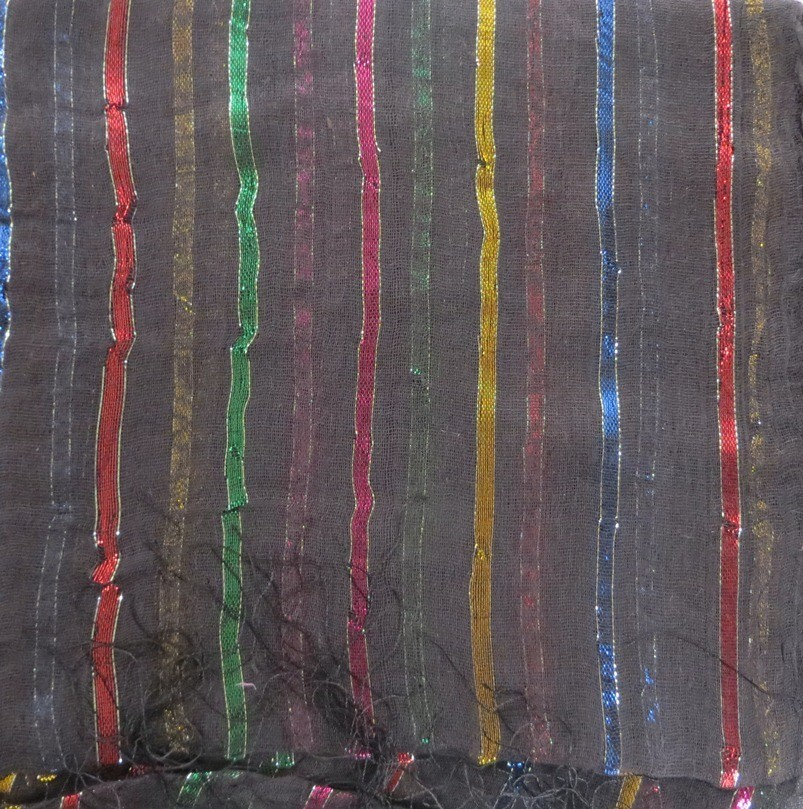 Black basic tichel with thick stripes