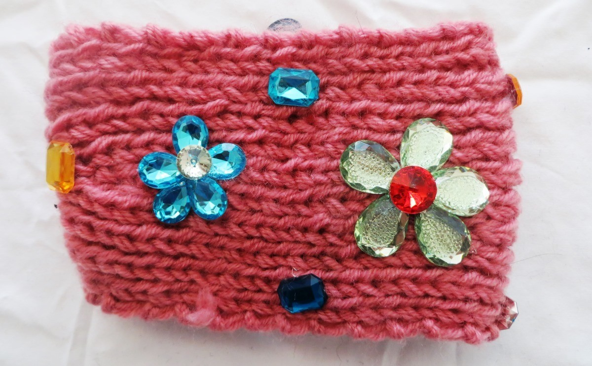 Pink jeweled head wrap