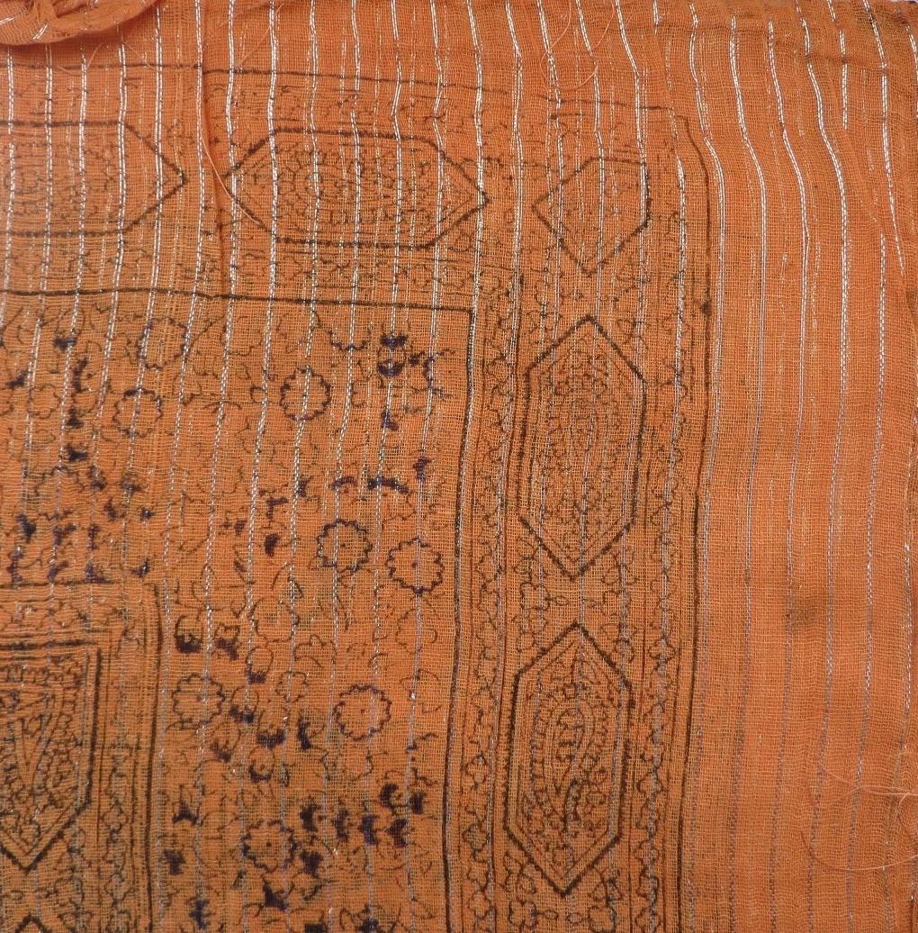 Orange patterned lurex tichel