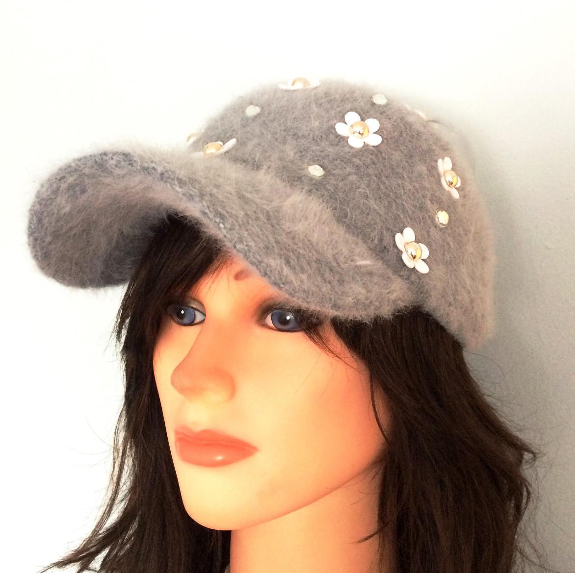 Light gray furry bejeweled cap