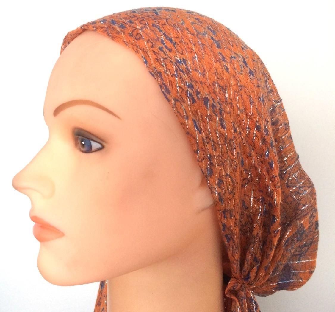 Orange with blue pattern lurex pre tied tichel