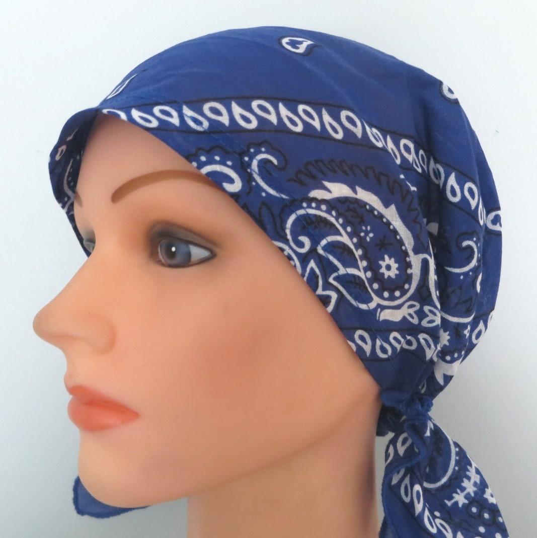 Electric blue pre-tied bandana
