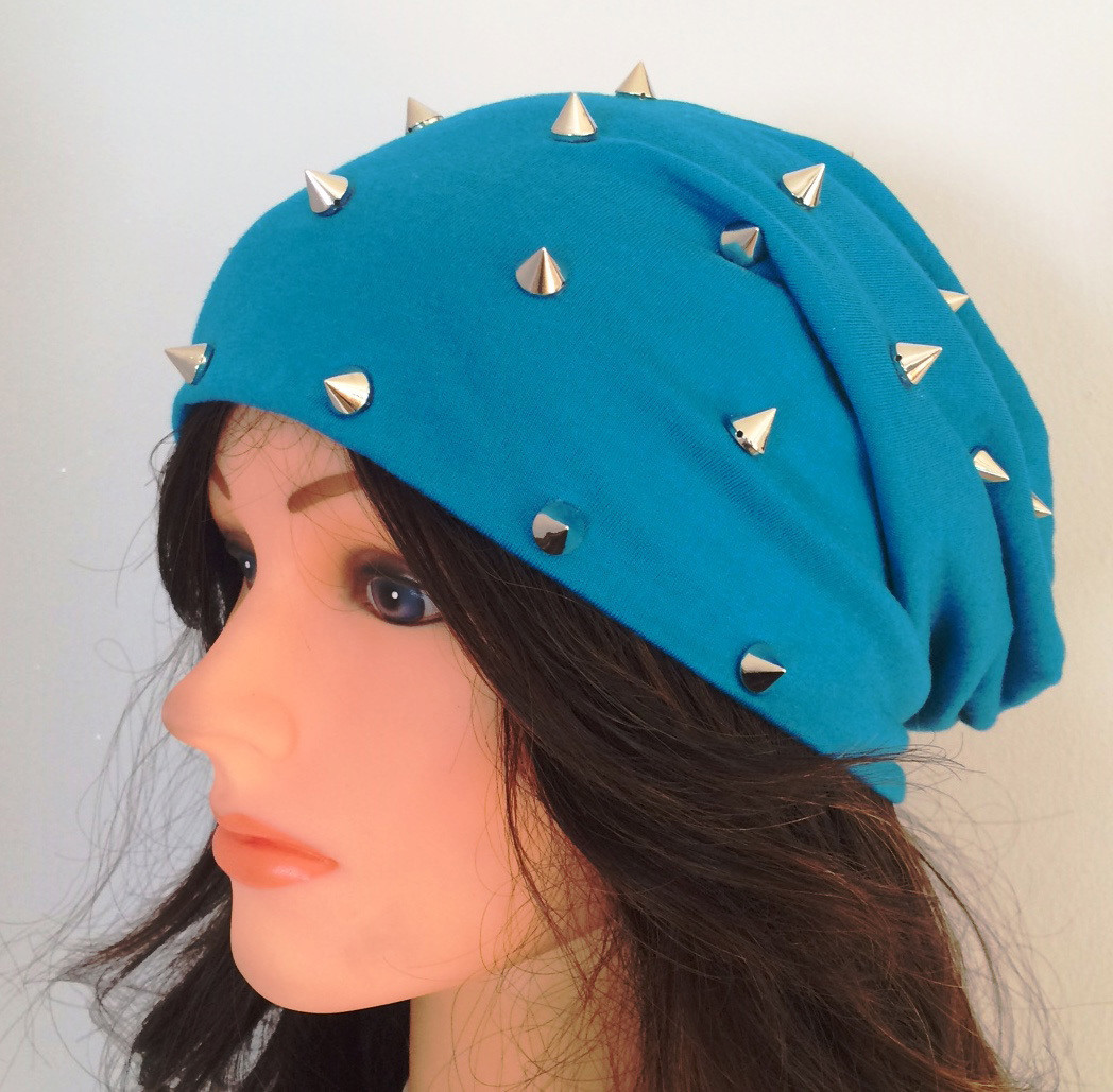 Aqua blue summer spiky beanie