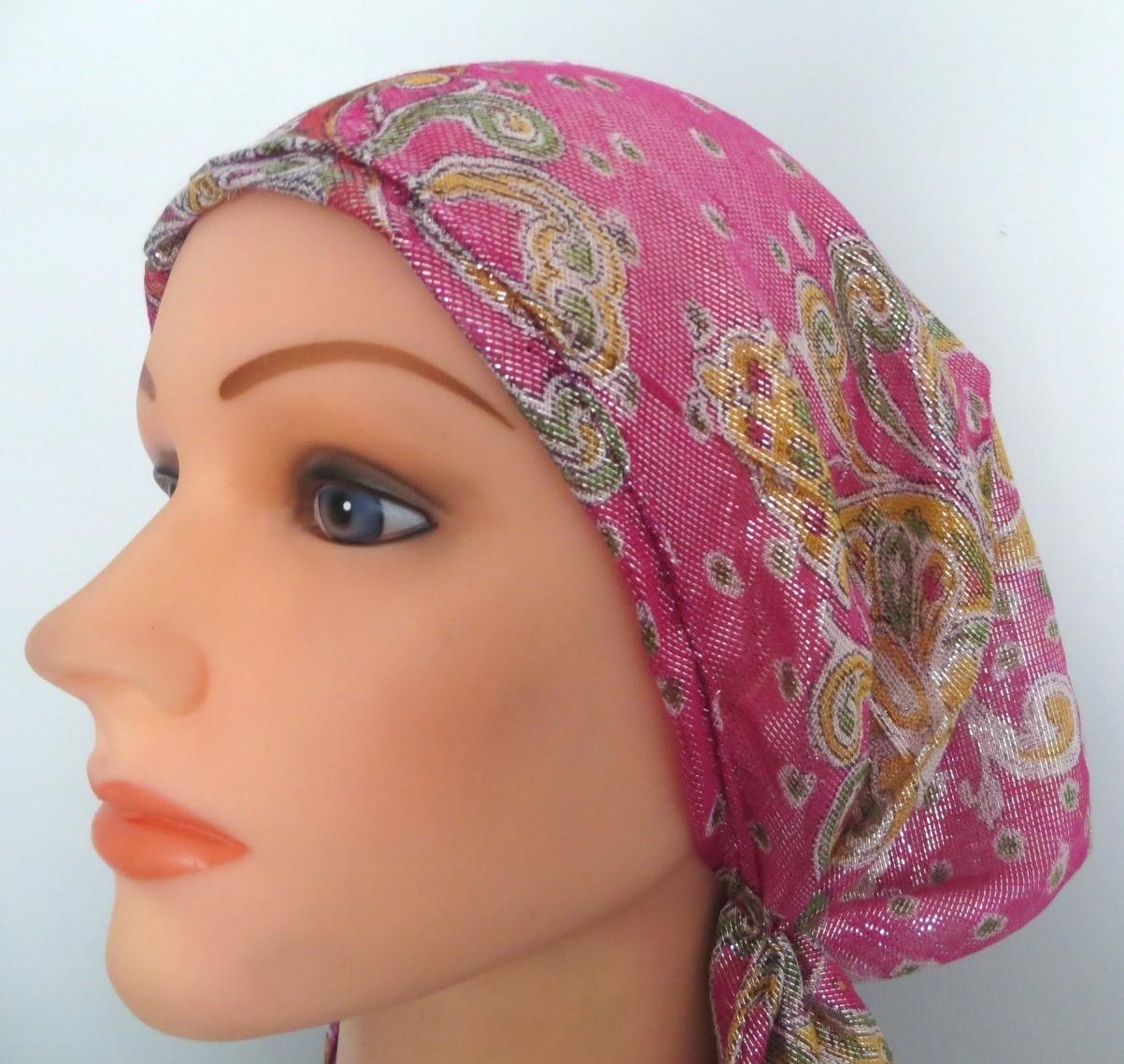 Pink paisley shimmering pretied tichel