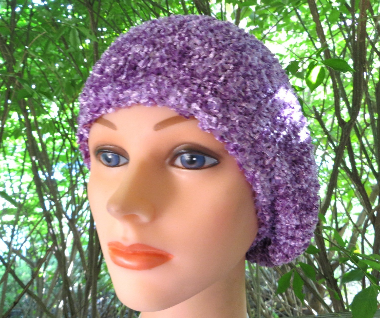 Lilac chenille snood