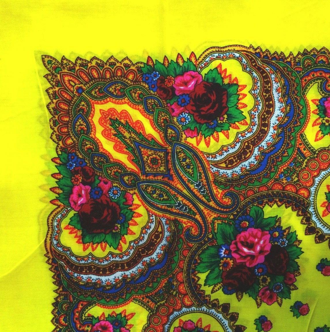 Bright yellow vintage tichel with paisley pattern